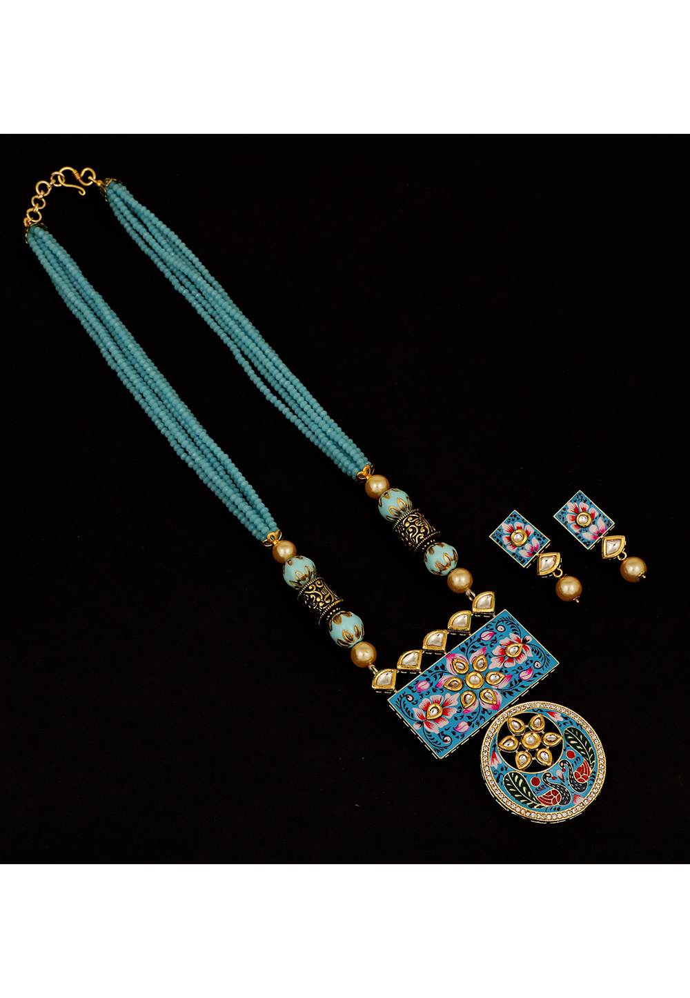 Sky Blue Brass Kundan Necklace Set With Earrings 161201