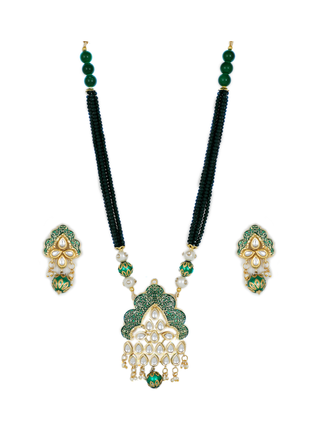 Green Brass Kundan Necklace Set With Earrings 161204