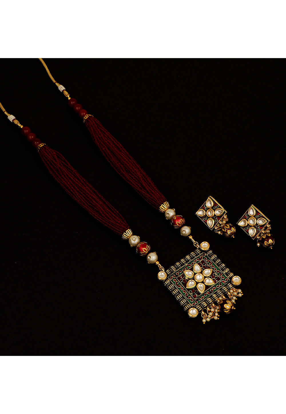 Red Brass Kundan Necklace Set With Earrings 161205