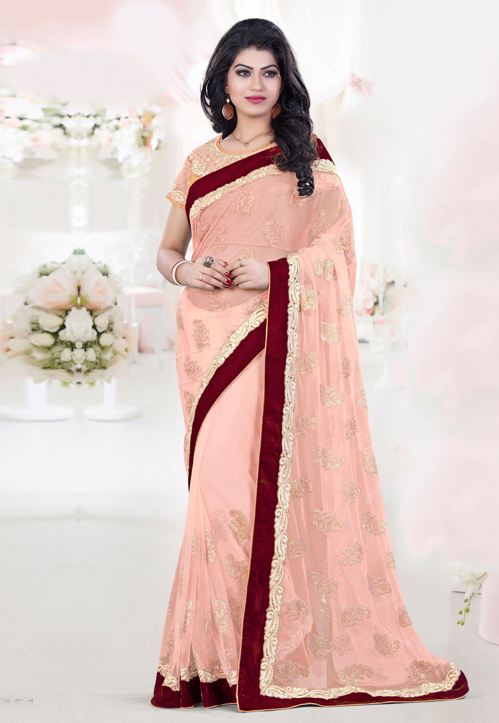 Peach Net Festival Wear Saree 191549