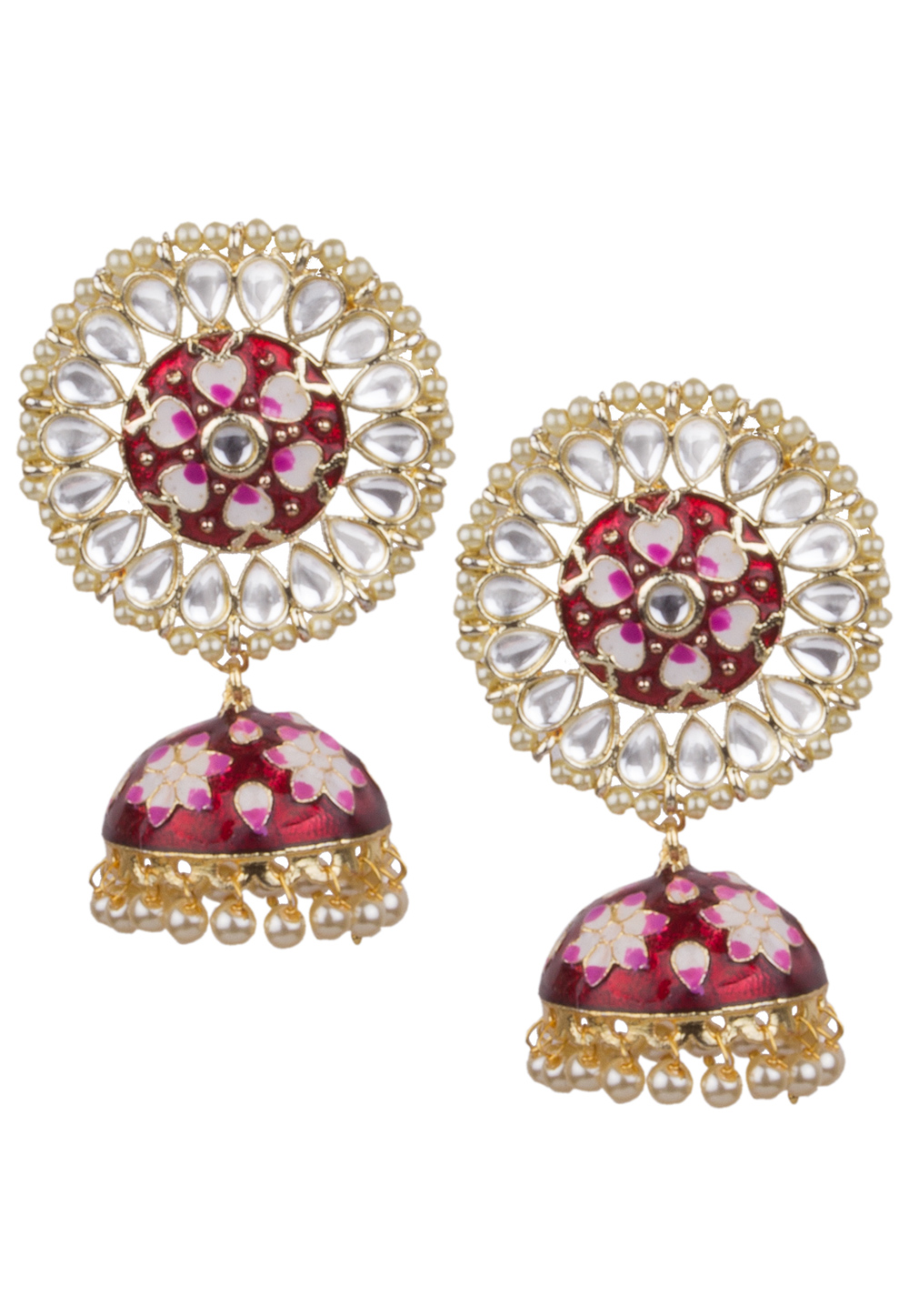 Red Brass Kundan Earrings 164826