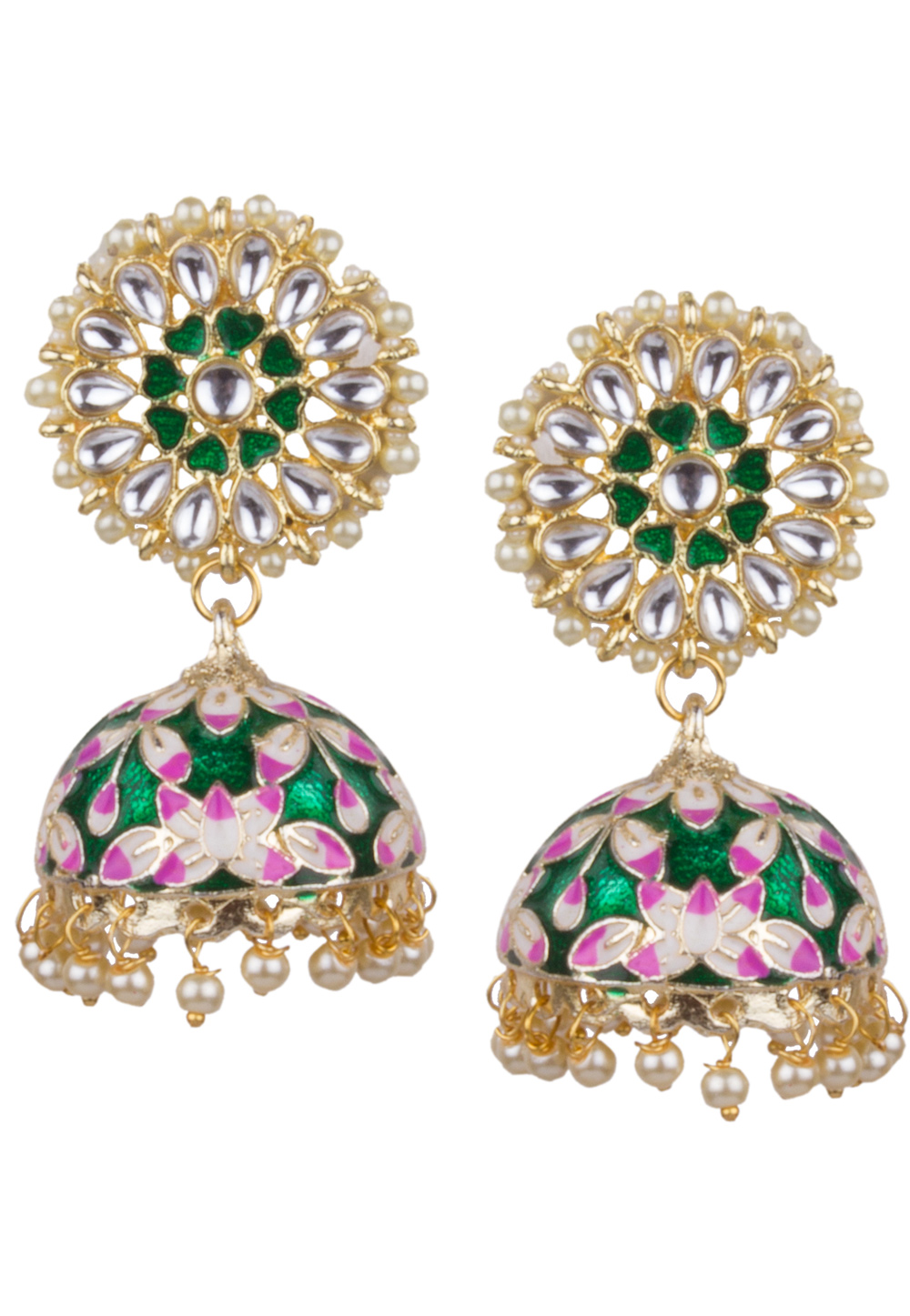 Green Brass Kundan Earrings 164834