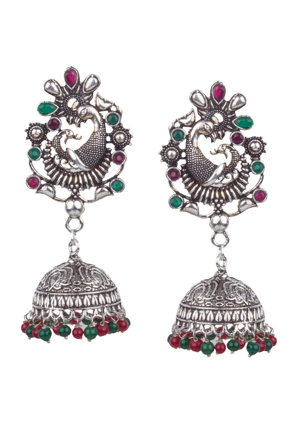 Green Brass Kundan Earrings 164841