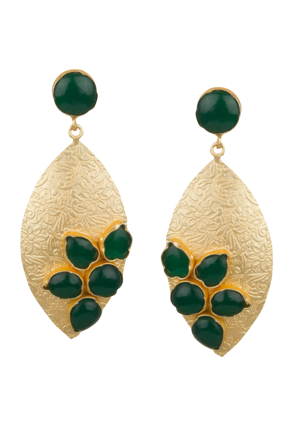 Green Brass Kundan Earrings 164844