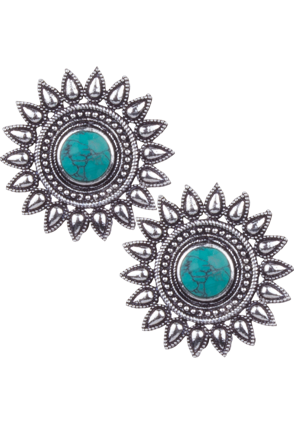 Silver Brass Kundan Earrings 164850
