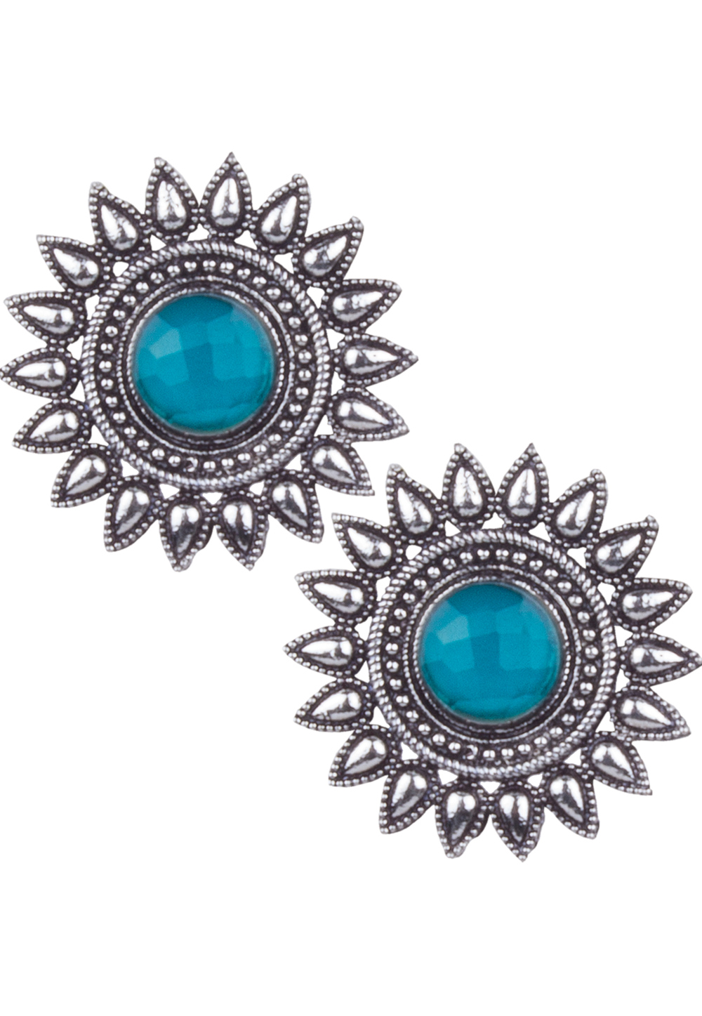 Silver Brass Kundan Earrings 164851