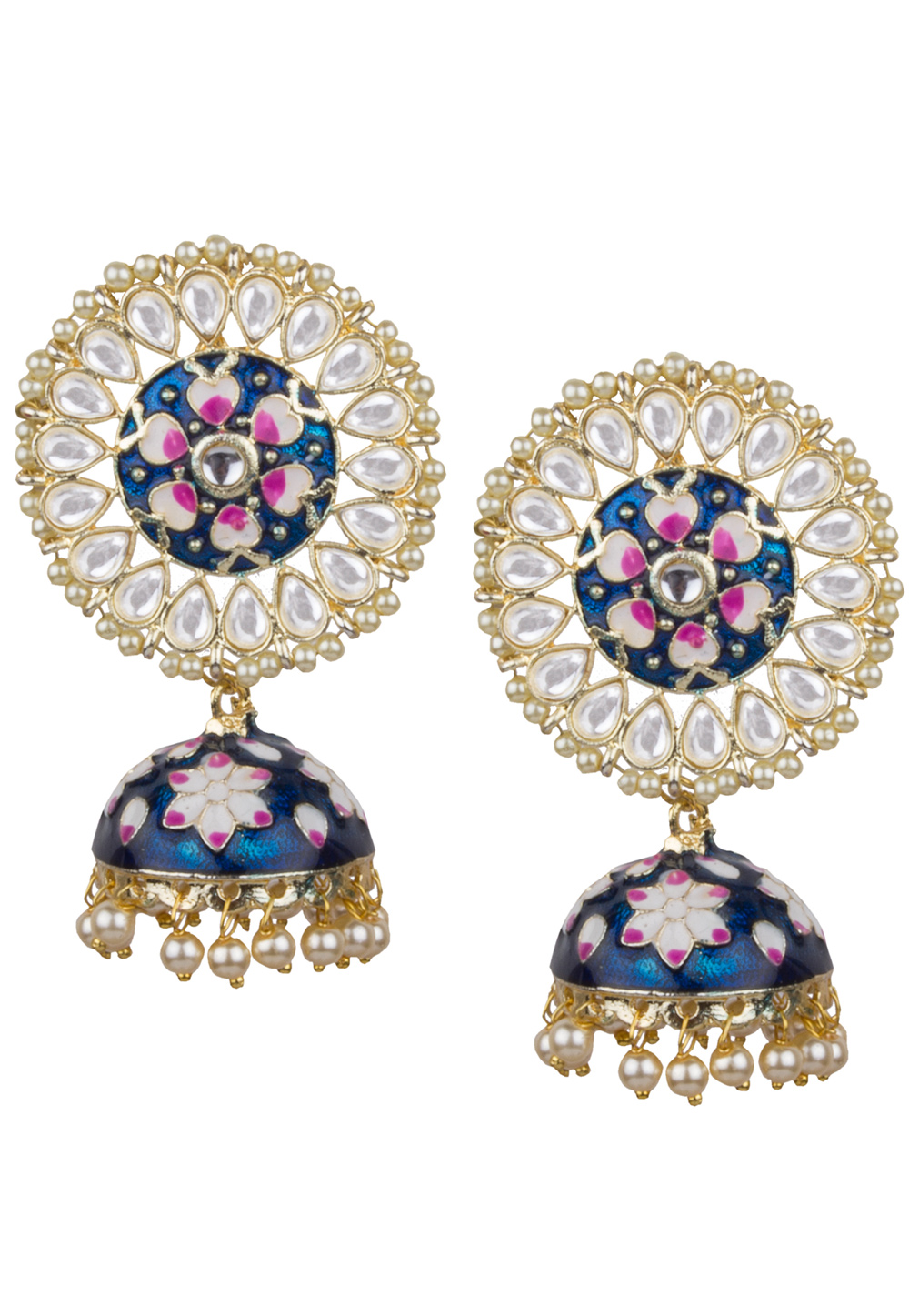 Blue Brass Kundan Earrings 164854