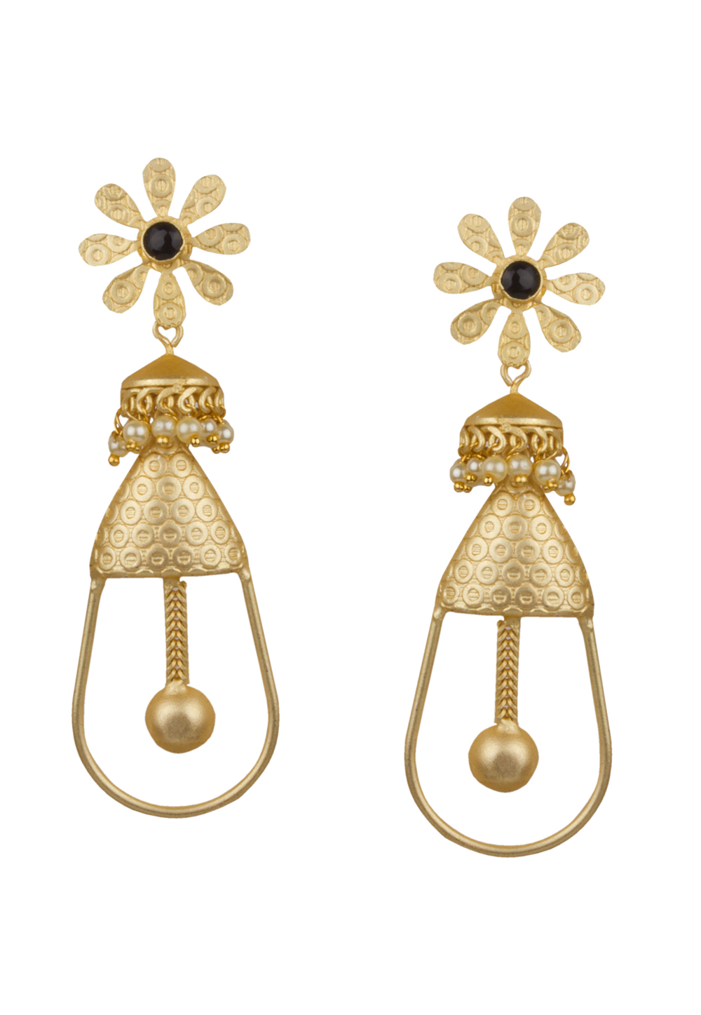 Golden Brass Kundan Earrings 164866