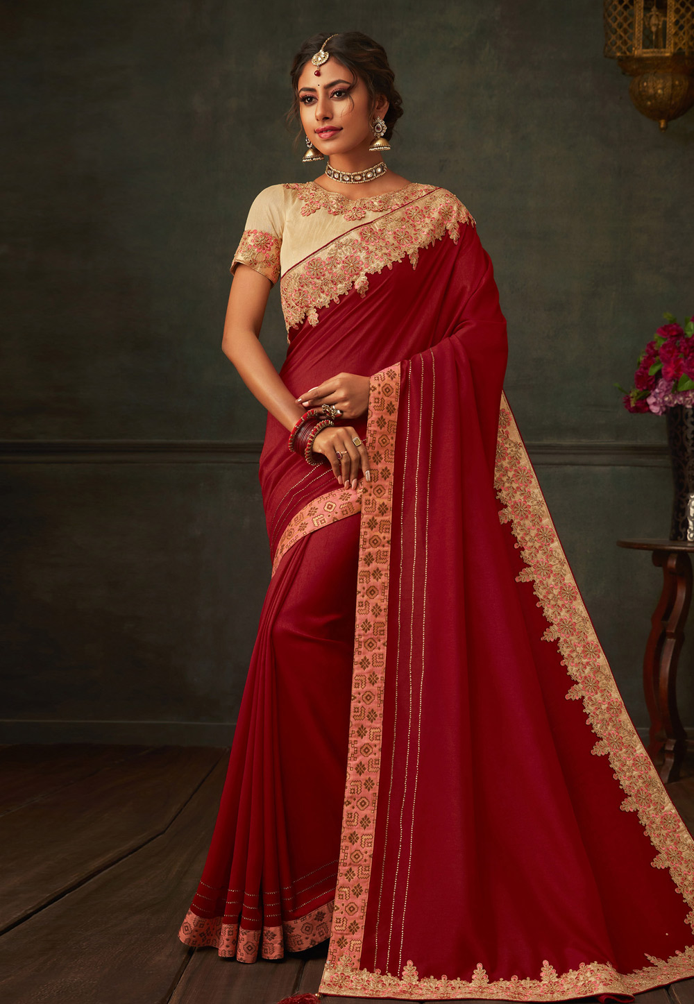 Maroon Poly Silk Saree With Blouse 201160