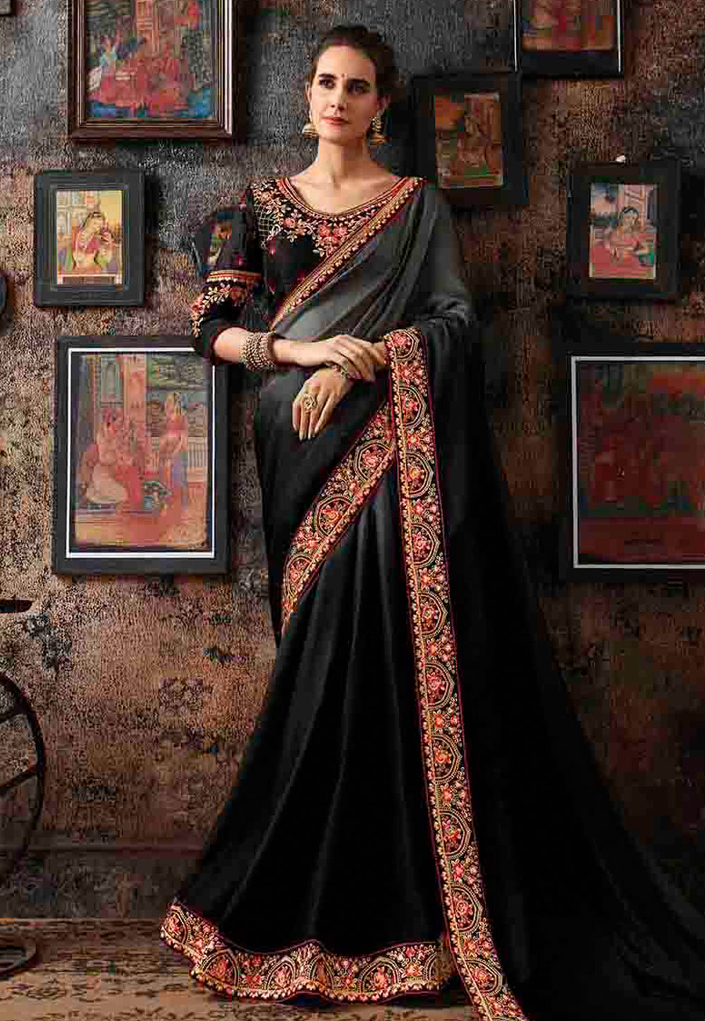 Black Georgette Saree With Blouse 160669