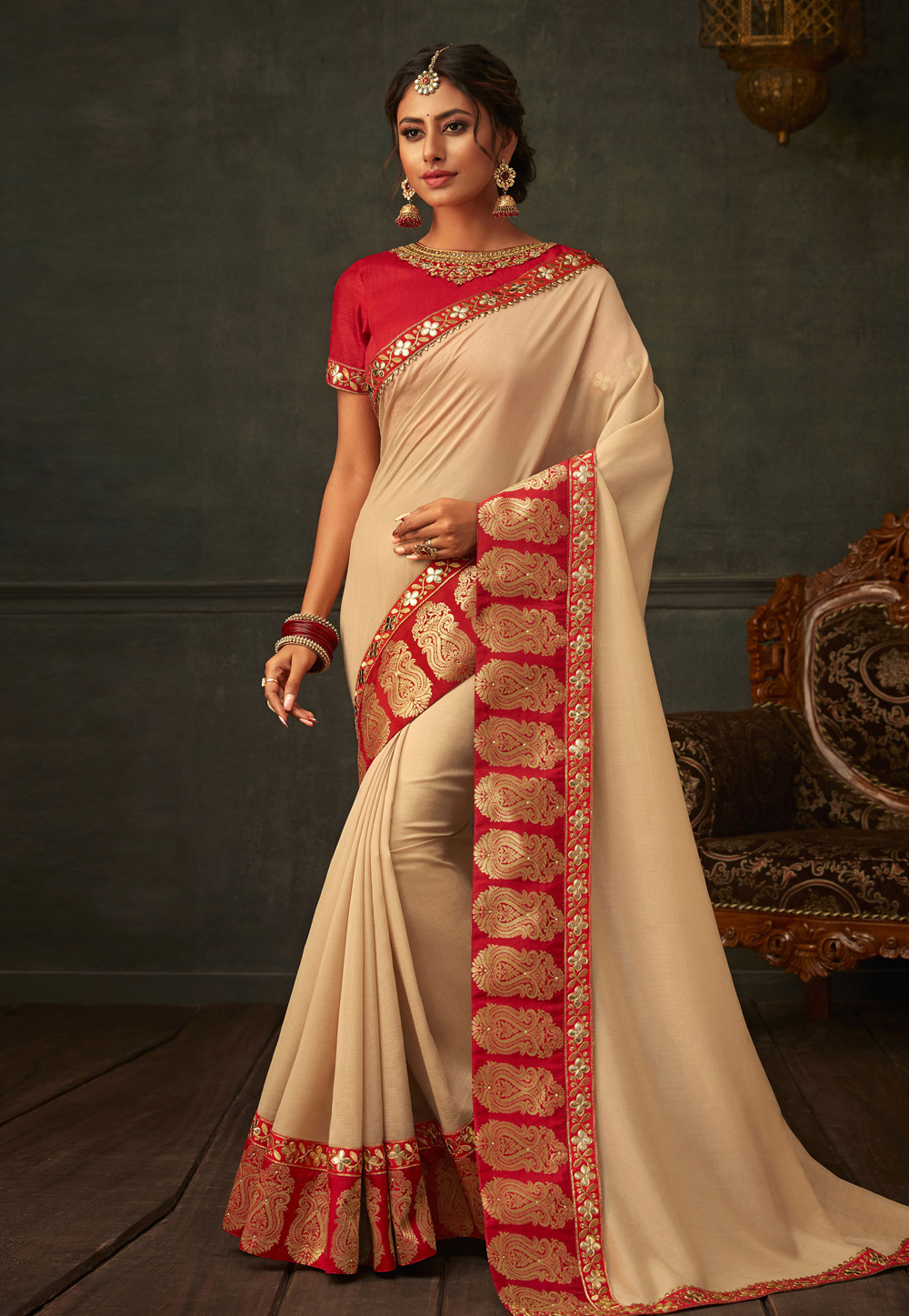 Beige Poly Silk Saree With Blouse 201174