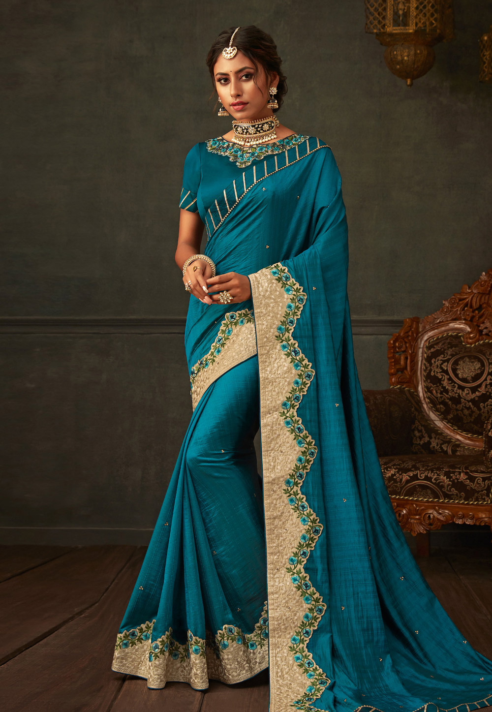 Blue Poly Silk Festival Wear Saree 201177