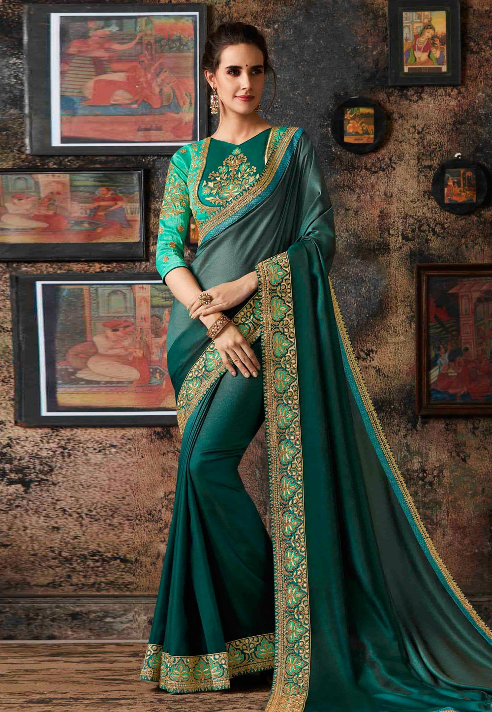 Teal Georgette Party Wear Saree 160672