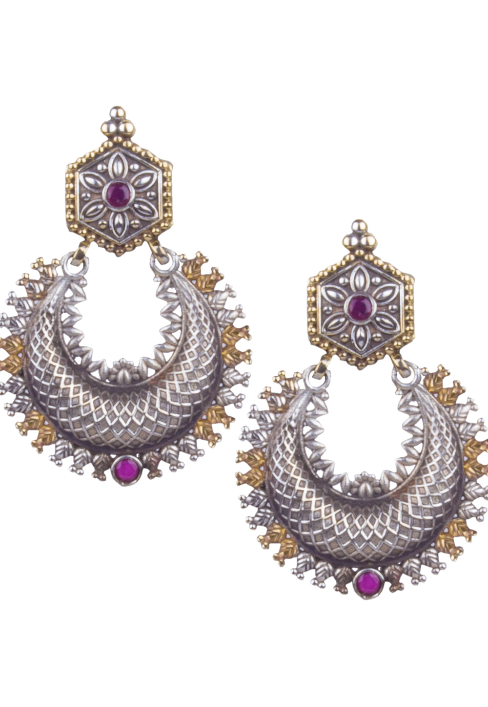 Silver Brass Kundan Earrings 164879