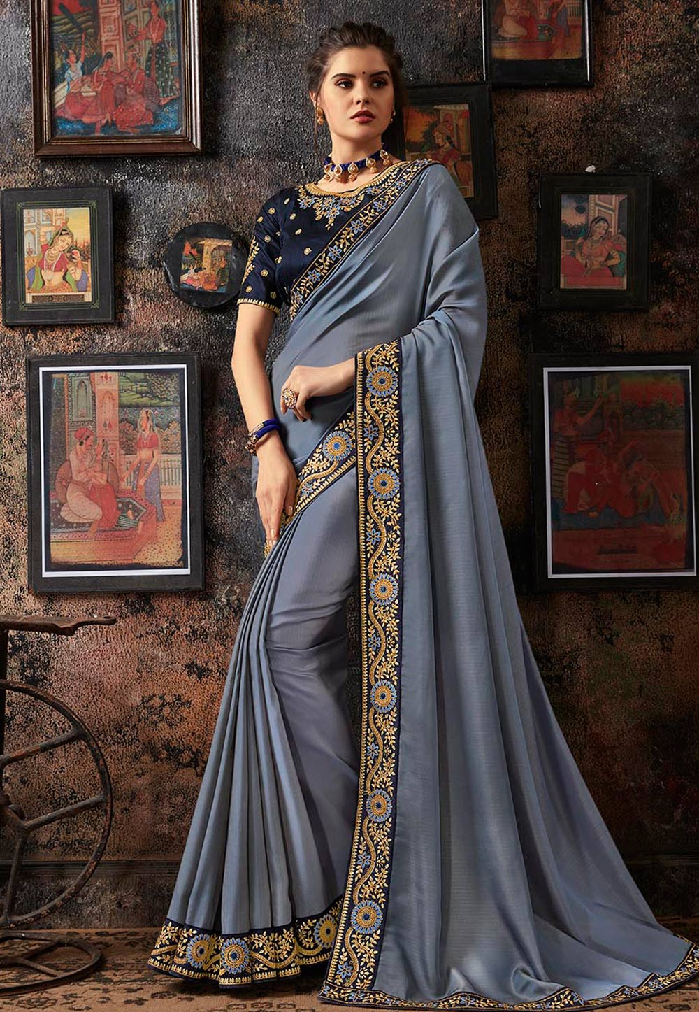 Light Blue Georgette Party Wear Saree 160675