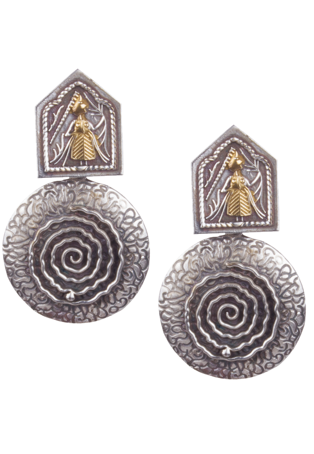 Silver Brass Kundan Earrings 164886