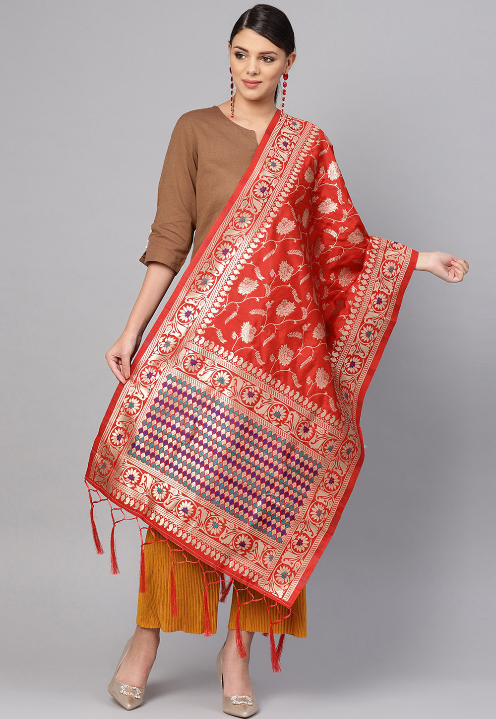 Red Banarasi Silk Dupatta 201190