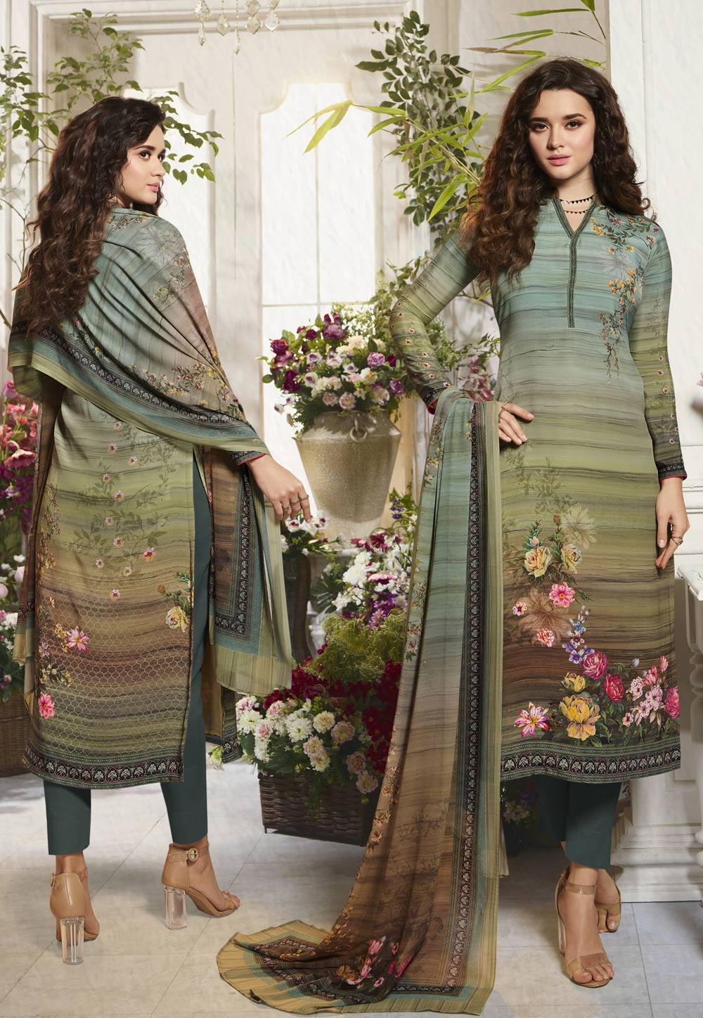 Green Crepe Pant Style Suit 201236