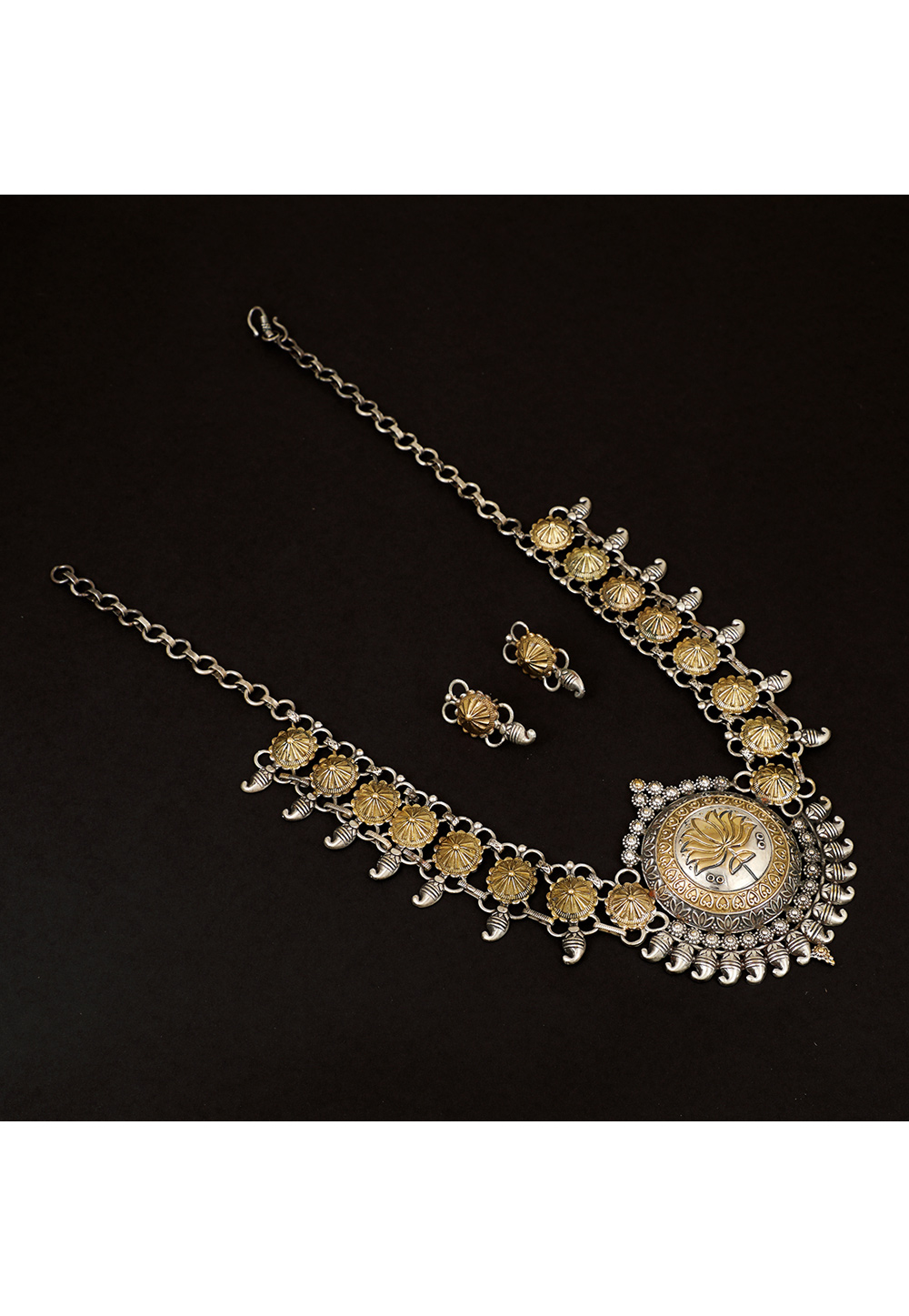 Silver Brass Necklace Set With Earrings 161214