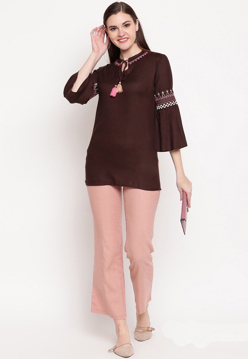 Brown Rayon Readymade Tunic 201325