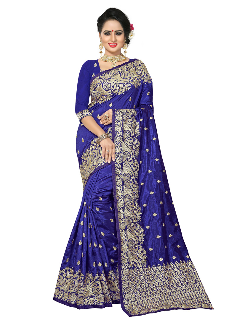 Navy Blue Art Silk Festival Wear Saree 139172