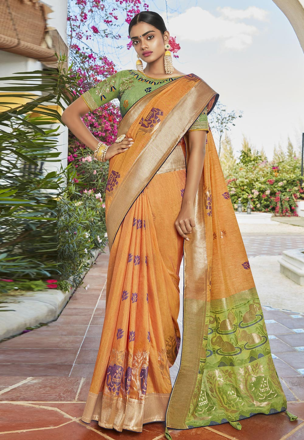 Orange Cotton Jacquard Saree With Blouse 201756