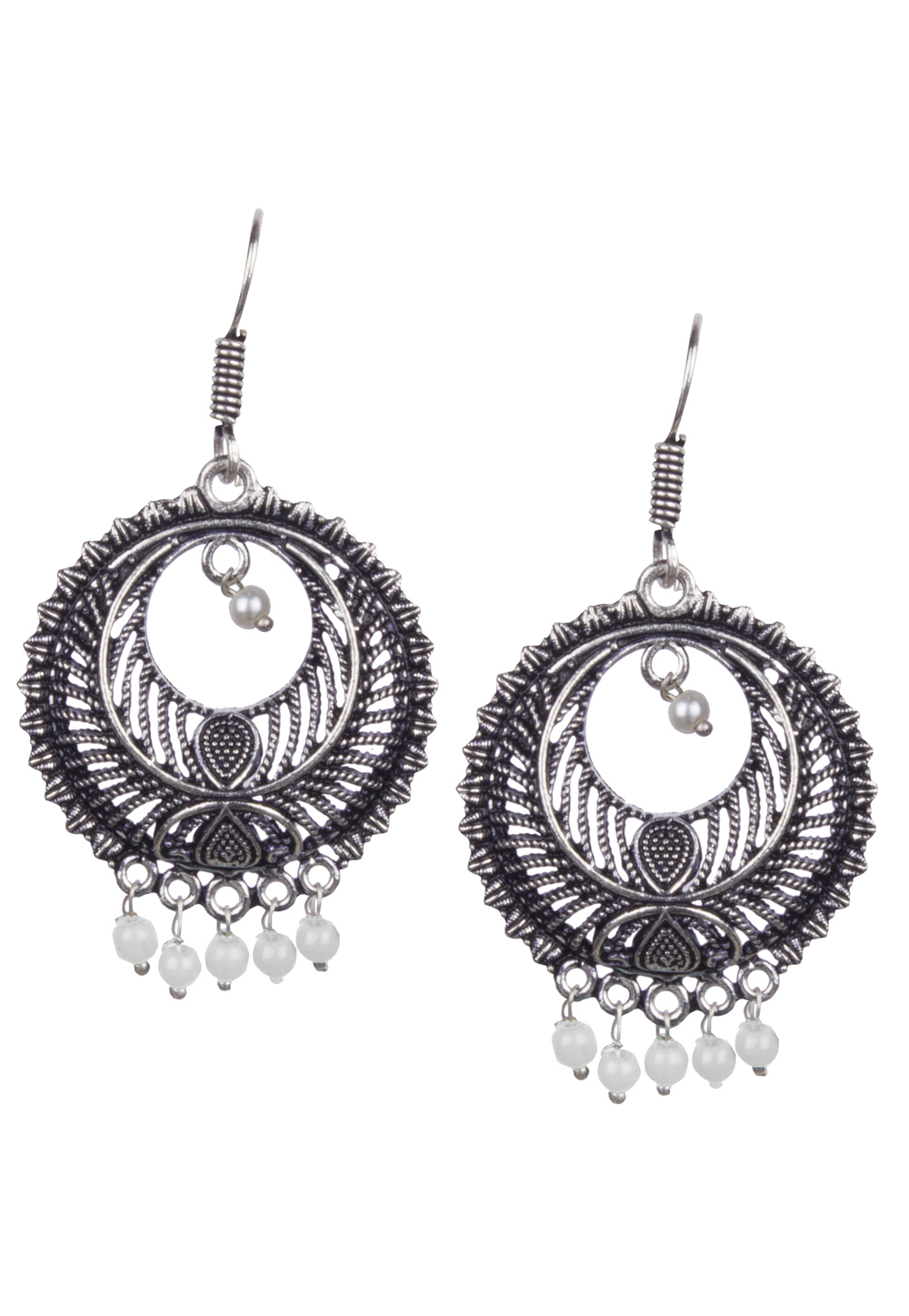 Silver Brass Kundan Earrings 164890