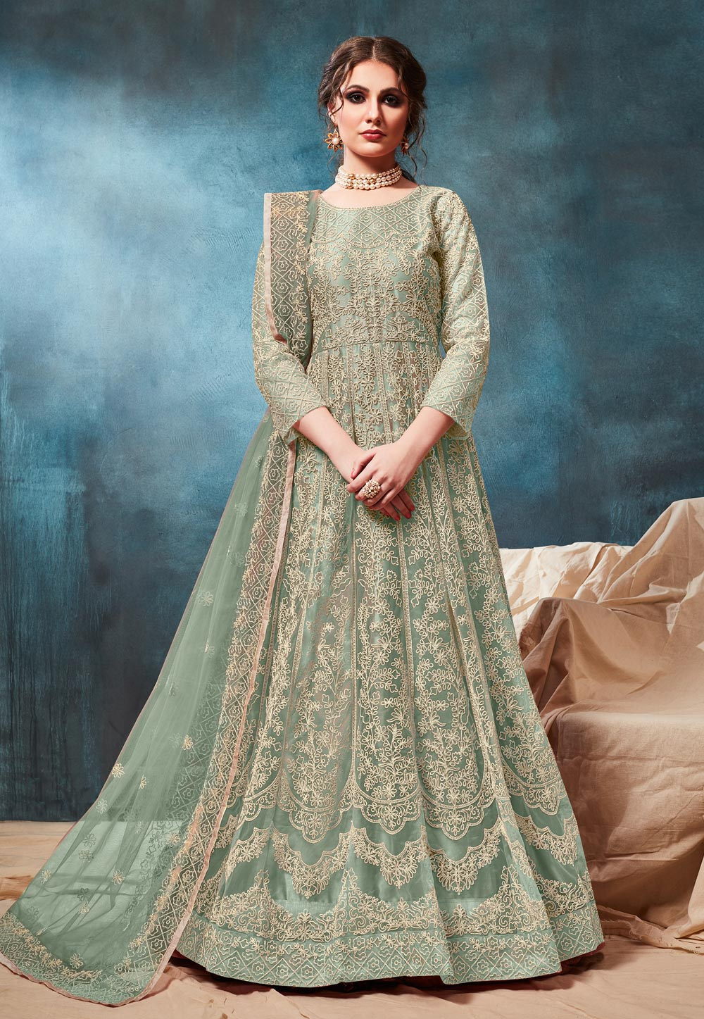 Sea Green Net Embroidered Long Anarkali Suit 186826