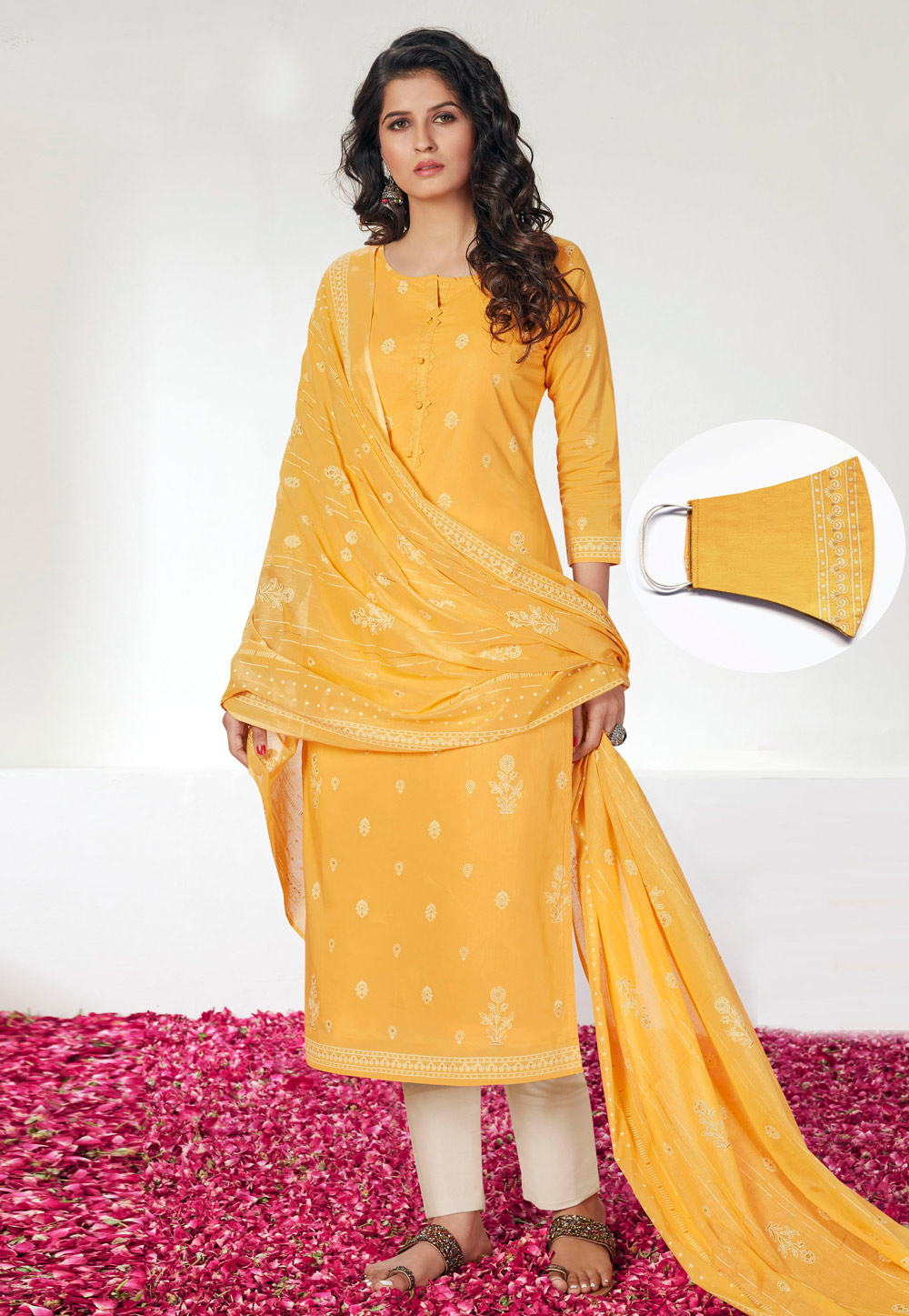 Yellow Cotton Pant Style Suit With Face Mask 201876