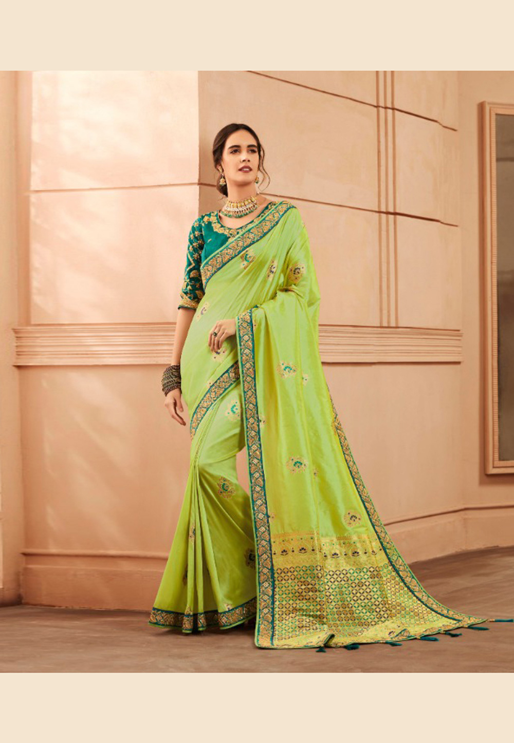 Green Banarasi Silk Festival Wear Saree 163517