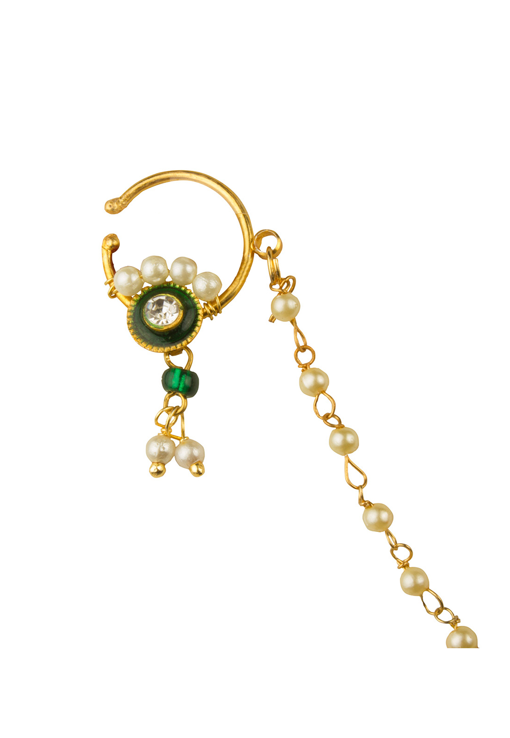 Golden Alloy Nose Ring With Chain 179723