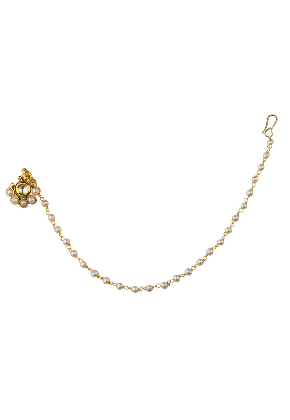 Golden Alloy Nose Ring With Chain 179724