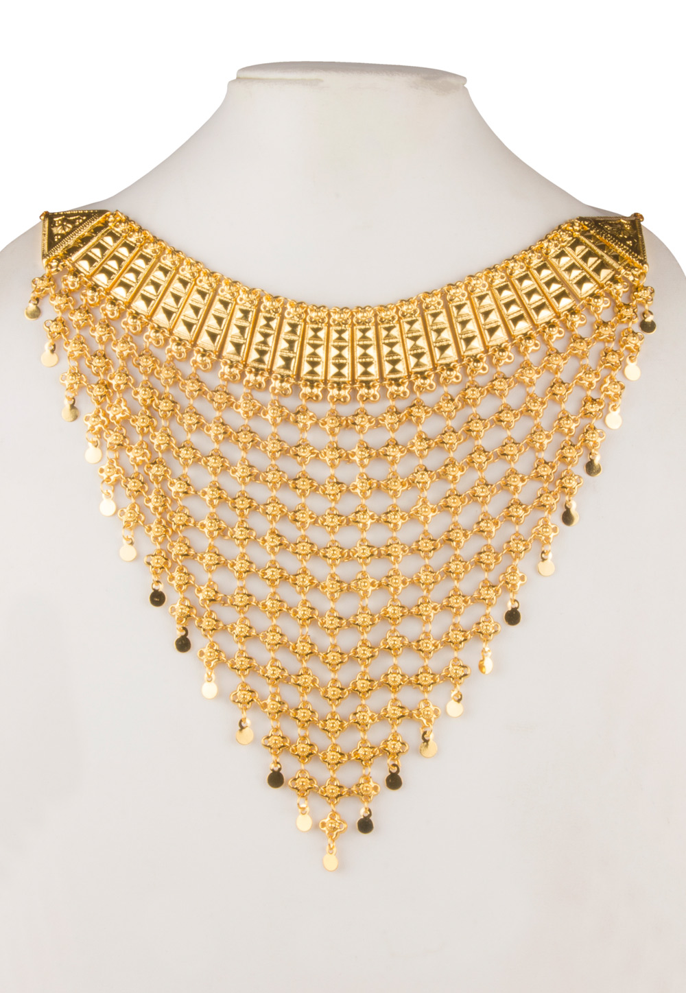 Golden Brass Gold Plated Heavy Necklace Set 171910