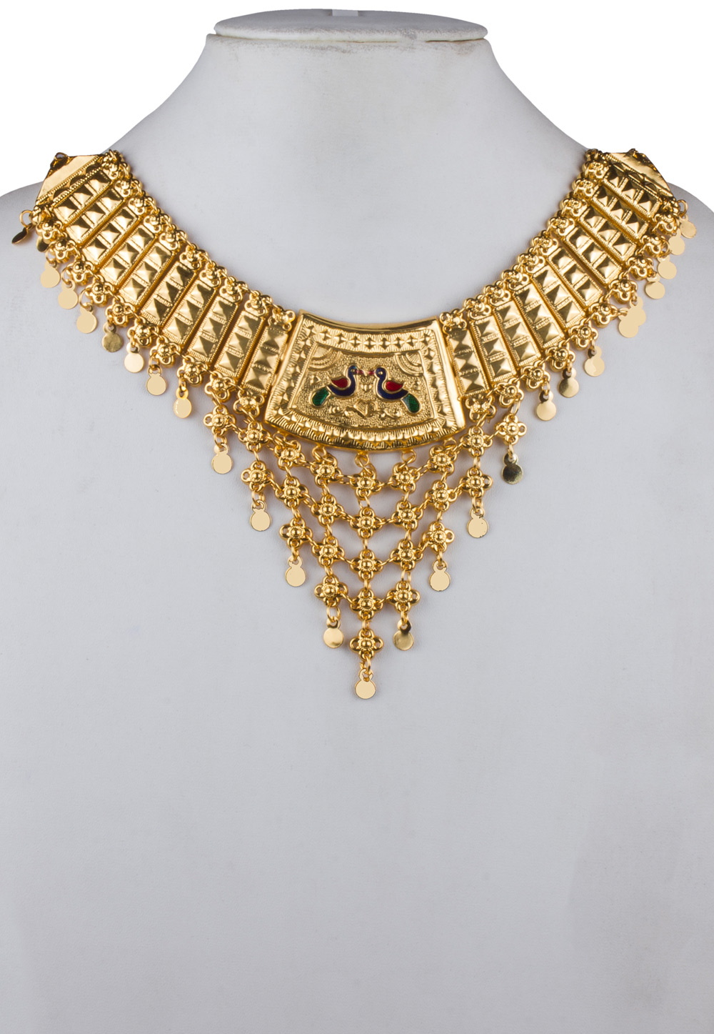 Golden Brass Gold Plated Heavy Necklace Set 171911