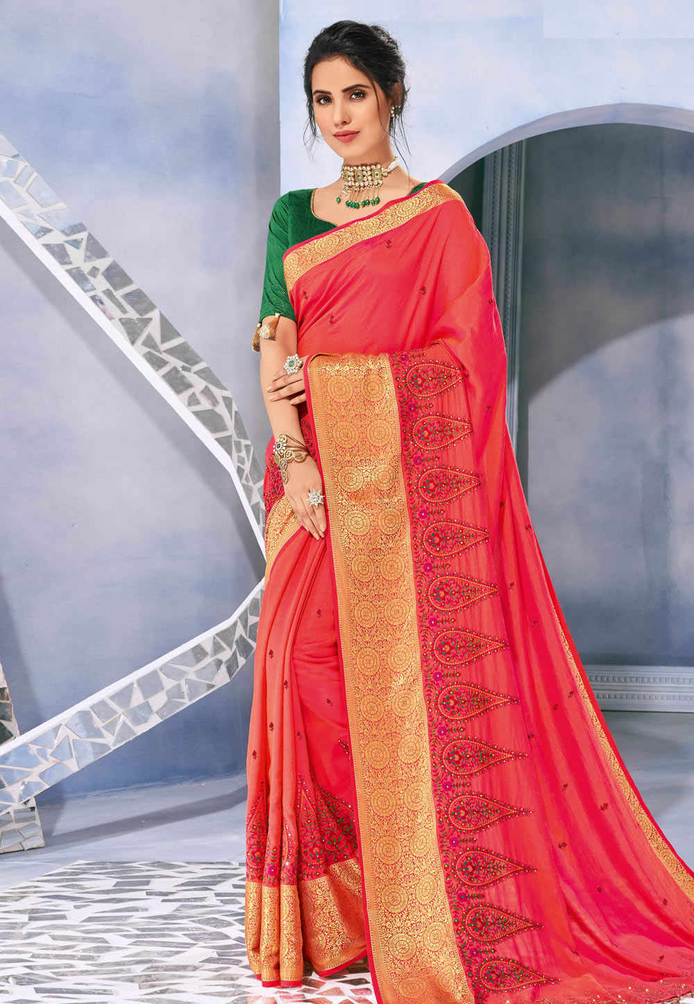 Pink Silk Saree With Blouse 201952