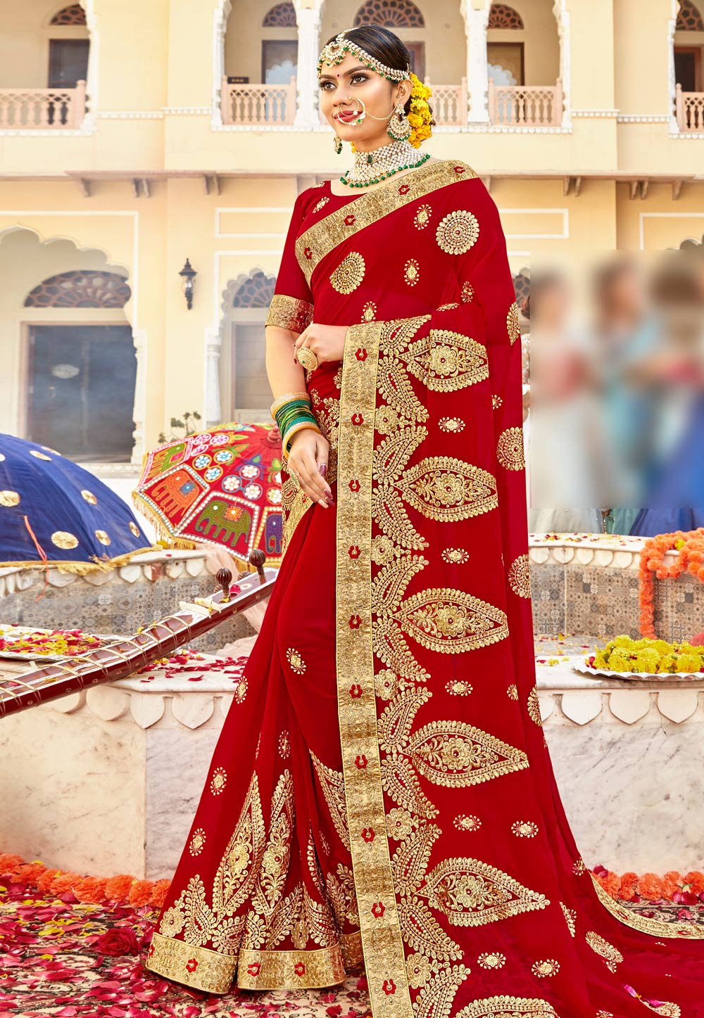 Red Georgette Embroidered Bridal Wear Saree 183854