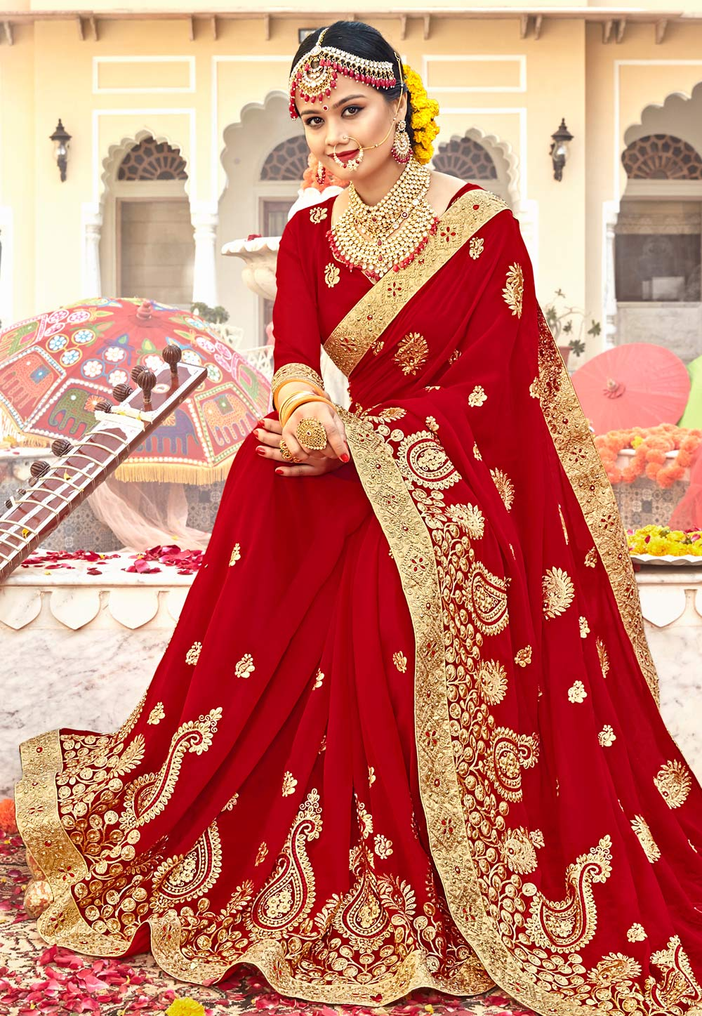 Red Georgette Embroidered Bridal Wear Saree 183855