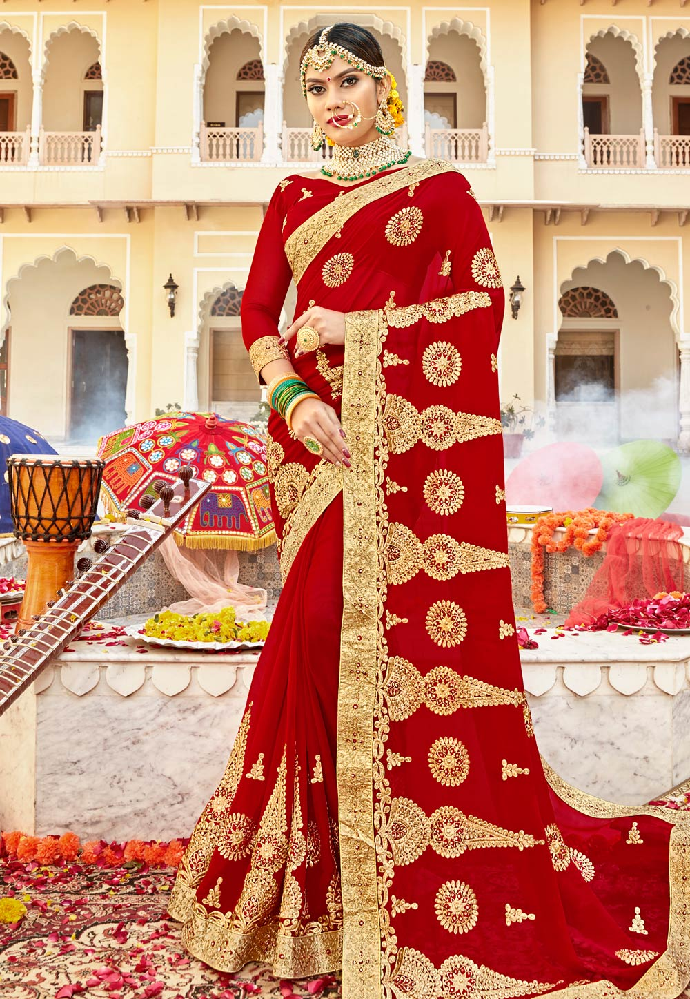 Red Georgette Embroidered Bridal Wear Saree 183857