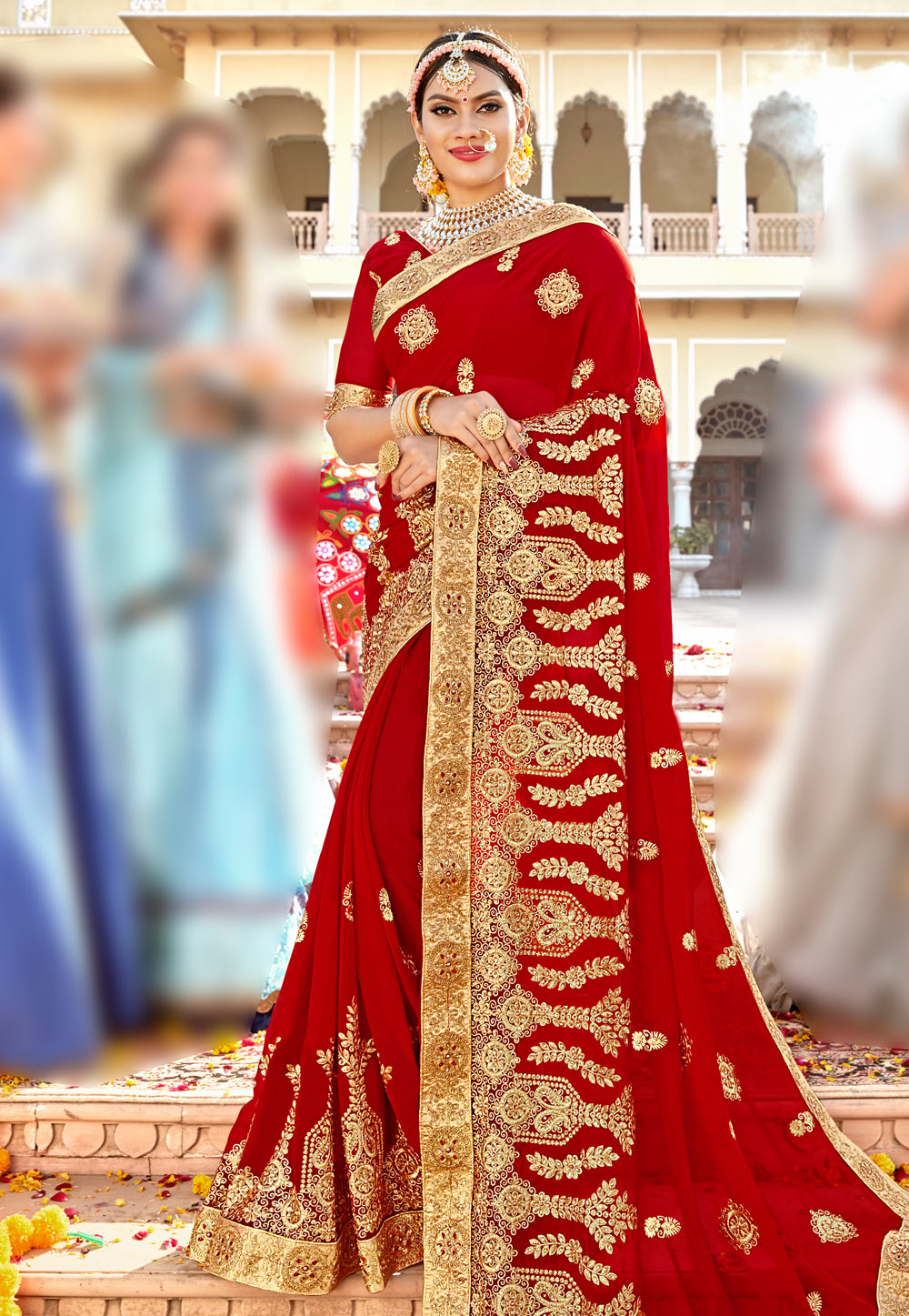 Red Georgette Embroidered Bridal Wear Saree 183858
