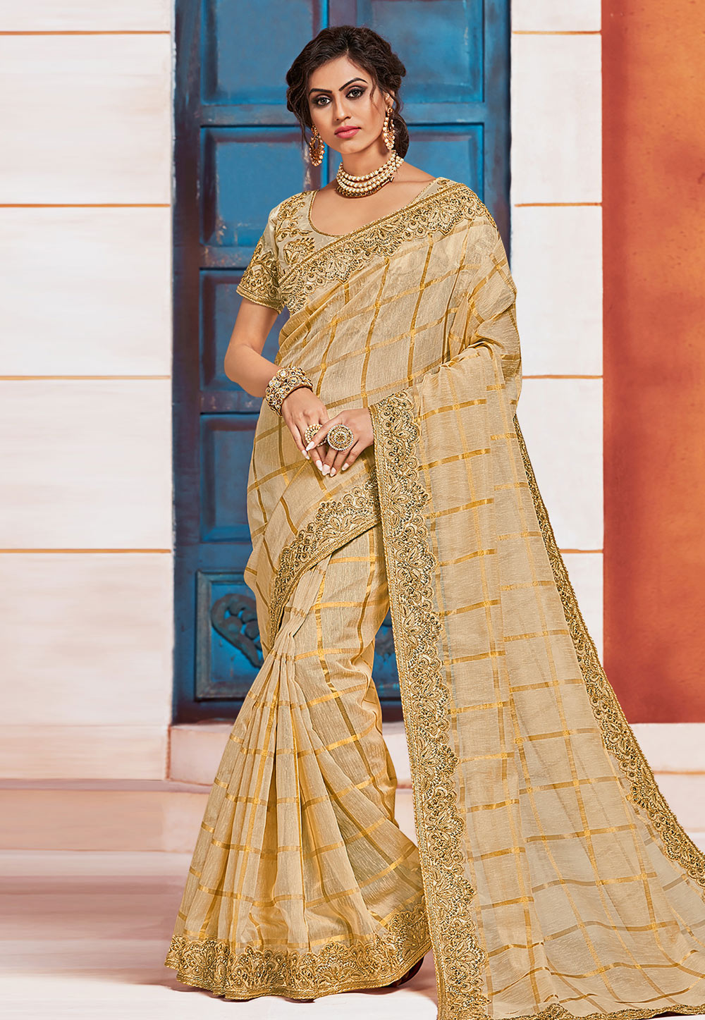 Beige Jute Silk Saree With Blouse 203386