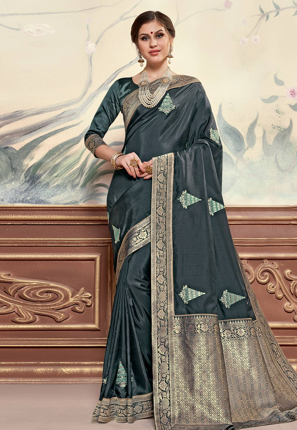 Dark Grey Silk Saree With Blouse 203439