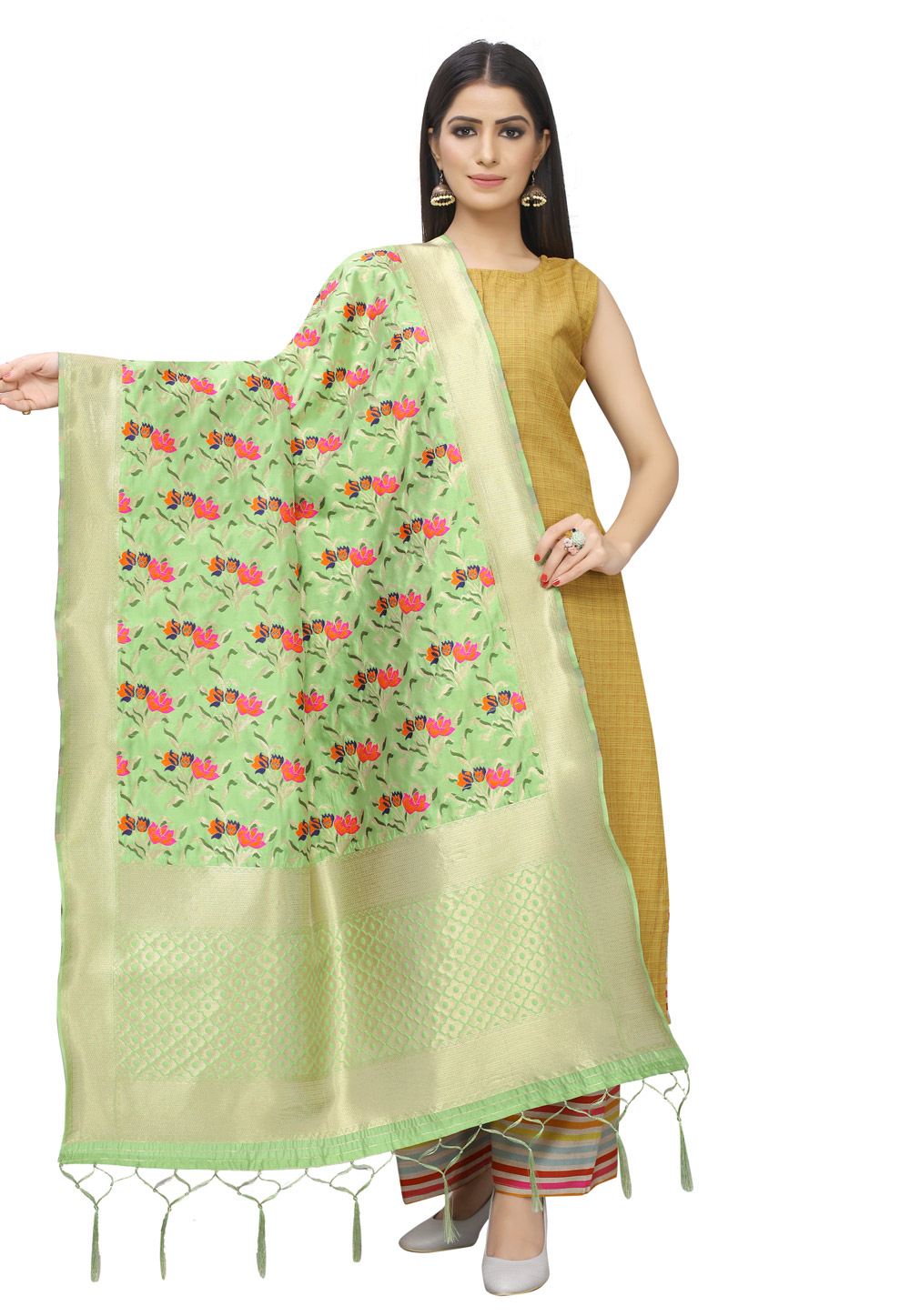 Light Green Banarasi Silk Dupatta 201793