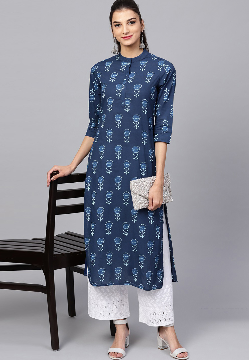 Navy Blue Cotton Readymade Tunic 203838