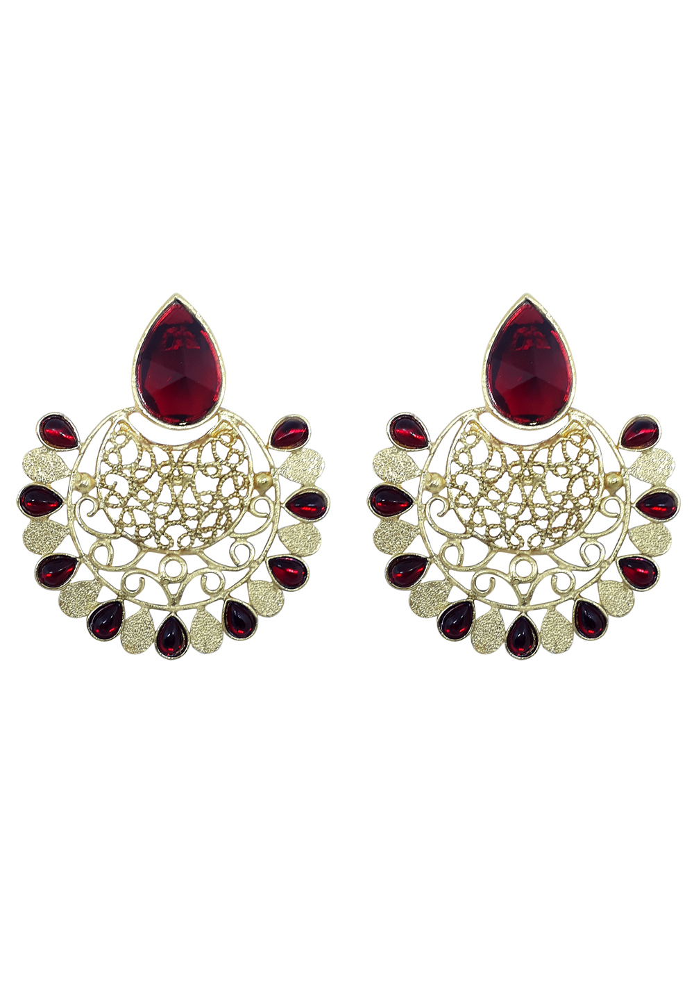 Maroon Brass Earrings 164901