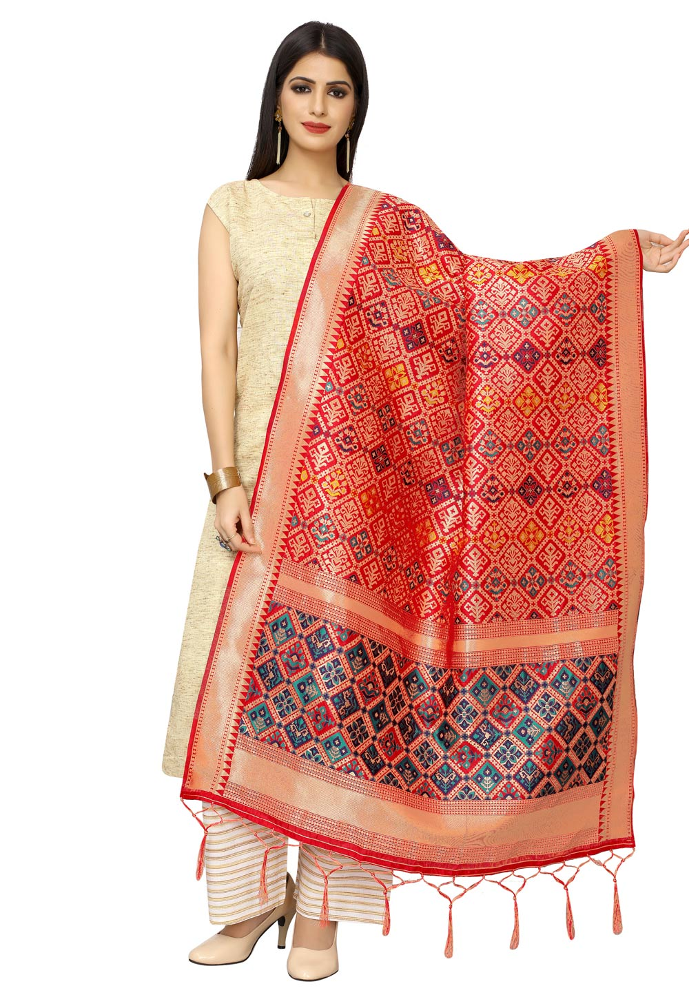 Red Banarasi Silk Dupatta 202227