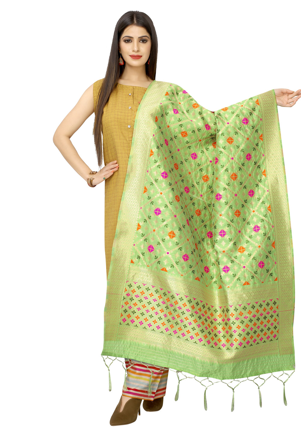 Light Green Banarasi Silk Dupatta 202238