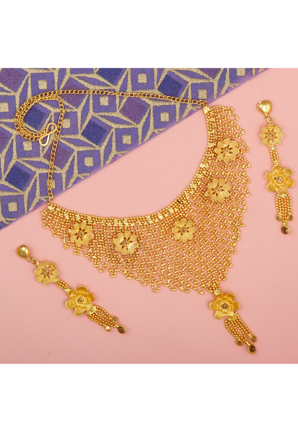 Golden Alloy Necklace Set With Earrings 216419