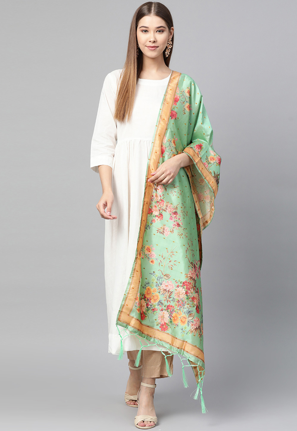 Light Green Silk Dupatta 204143