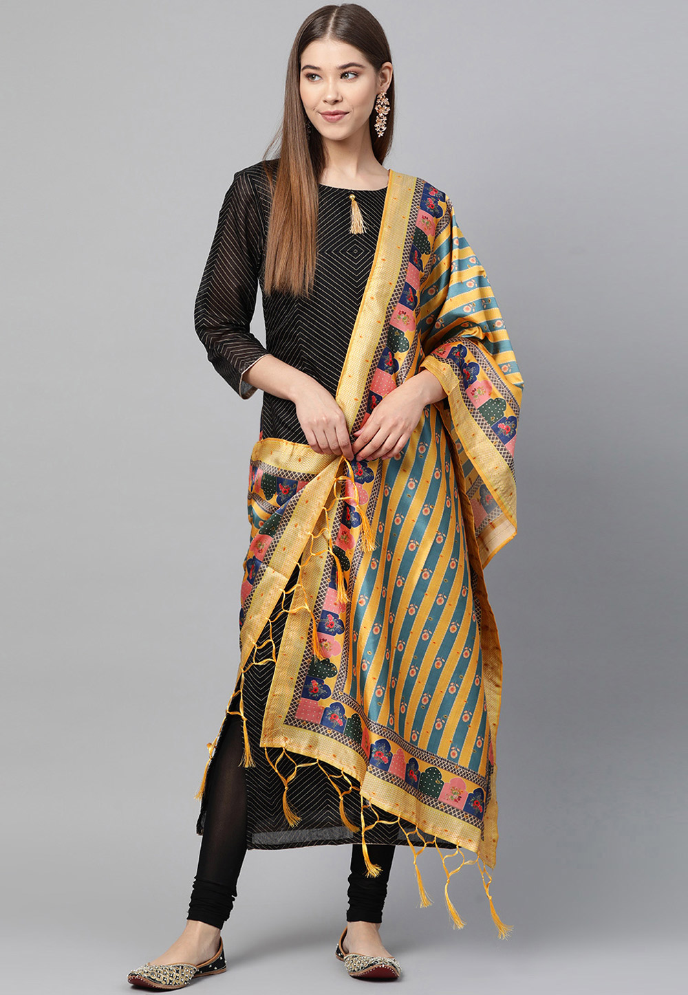 Yellow Silk Dupatta 204151