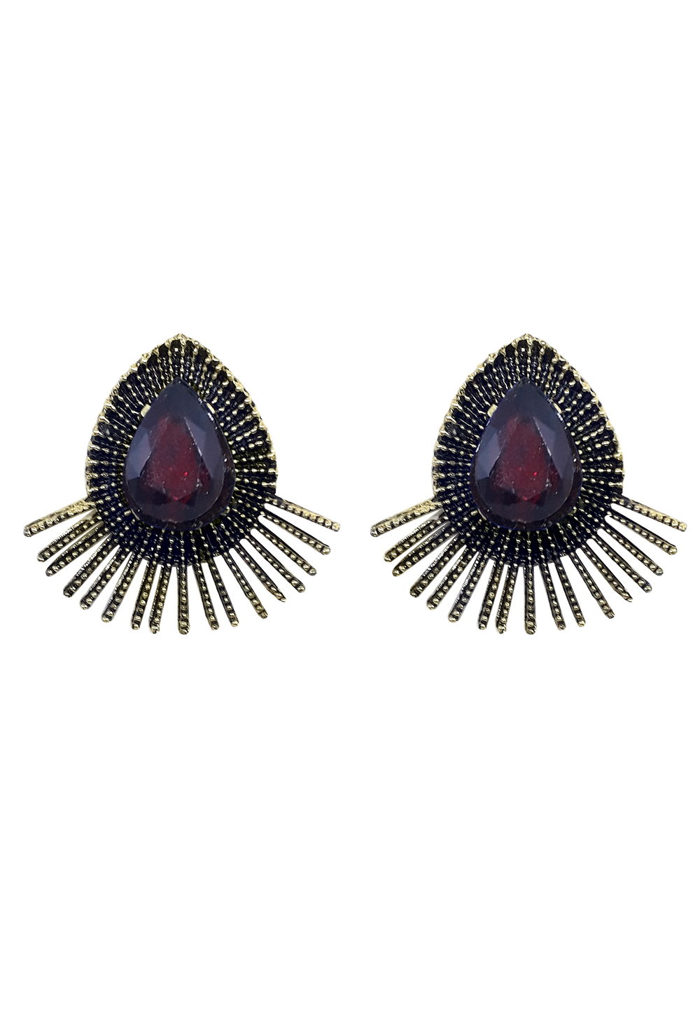 Maroon Brass Earrings 164918